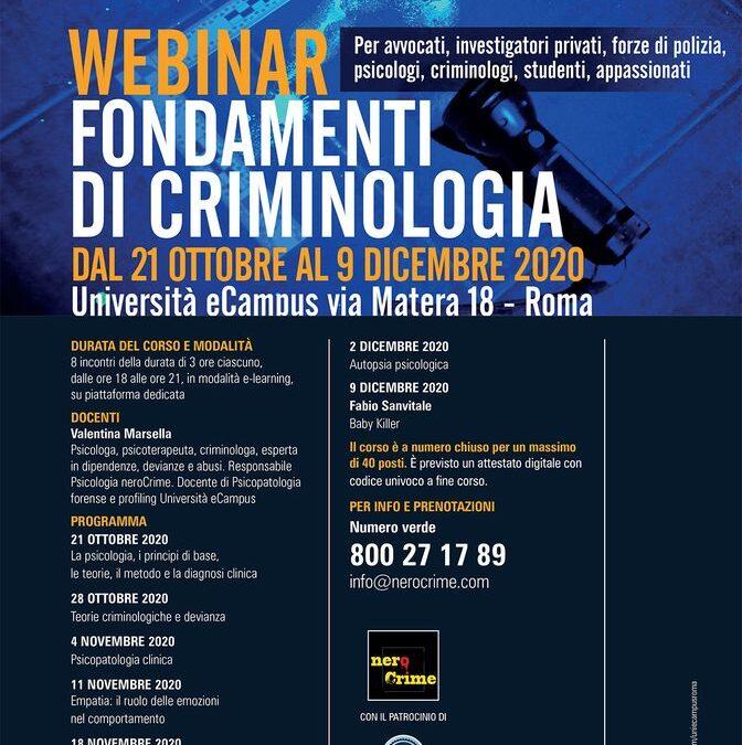 Webinar Fondamenti di Criminologia