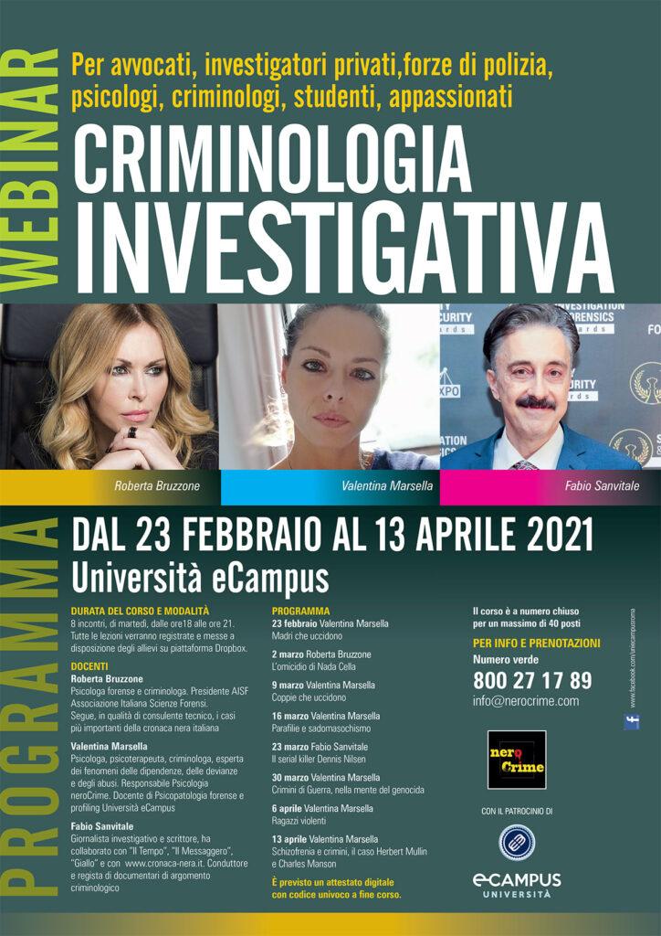 Locandina del webinar su criminologia investigativa