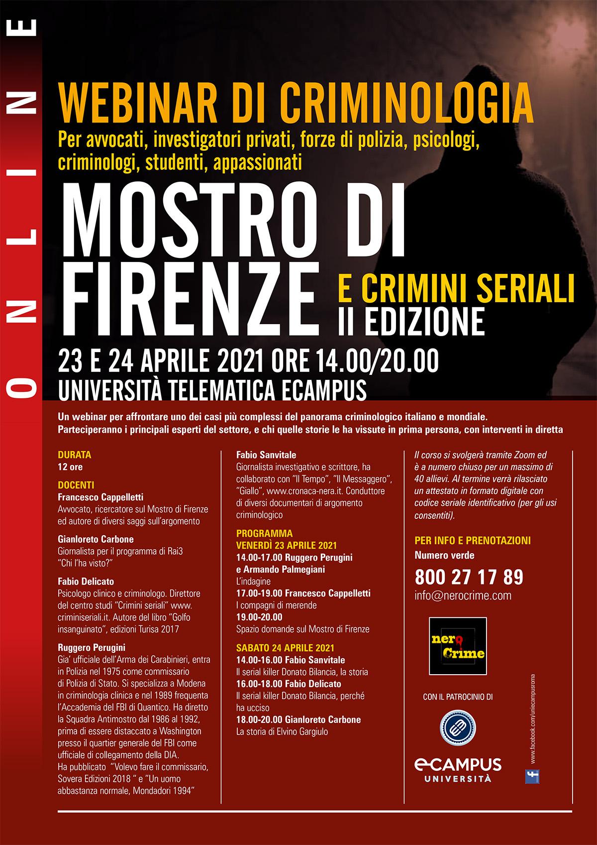 Locandina con date e dettagli del webinar in criminologia sul Mostro di Firenze