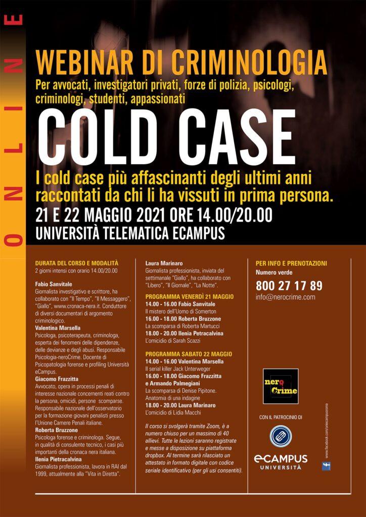 Locandina del webinar criminologia cold case - maggio 2021