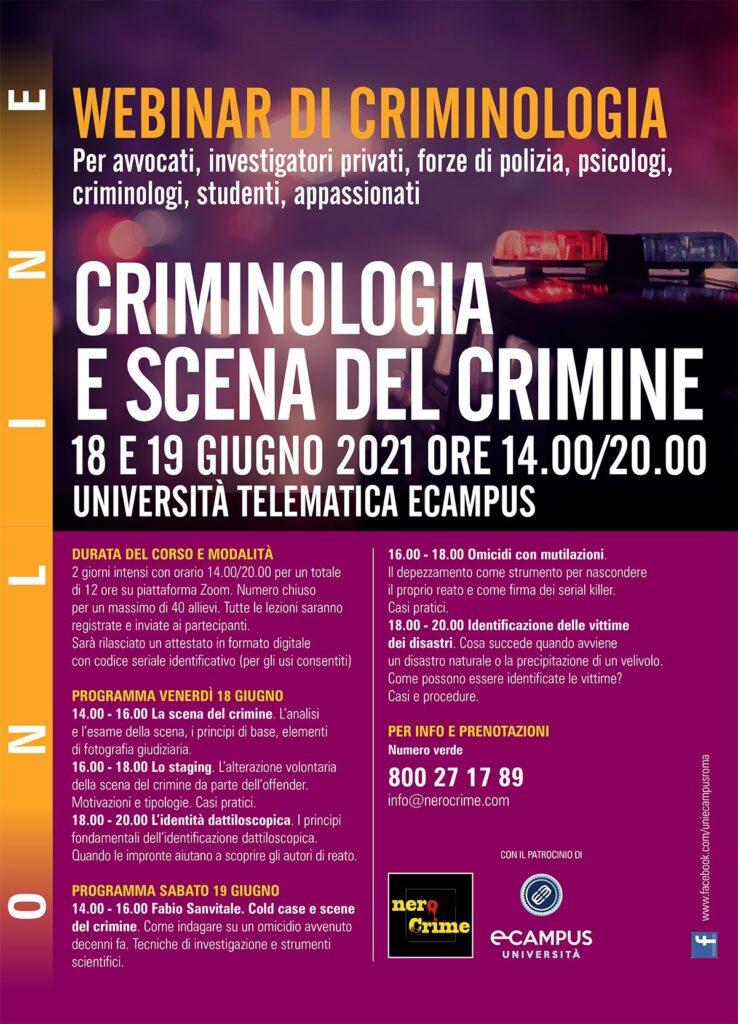 Webinar criminologia giugno 2021 programma