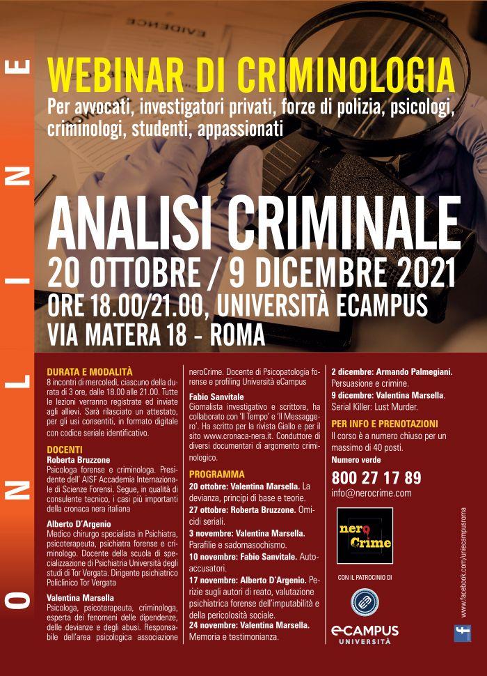 analisi criminale, webinar ottobre 2021